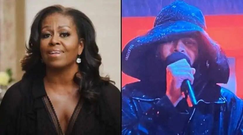 """The Weeknd leva o troféu de """"Artista Solo Masculino Internacional"""", com direito a discurso de Michelle Obama (Reprodução/Internet)"""