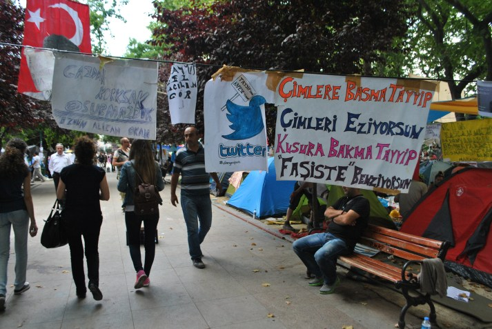 "Twitter sign inside Gezi Park as a symbol of free communication on Social Media. In the mid of the happenings in Turkey, Turkish Prime Minister Recep Tayyip Erdogan in the beginning of June stated: """"Now we have a menace that is called Twitter"". Photo by Aleksandra Dukovska"