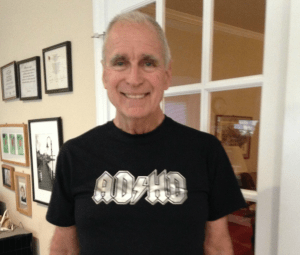 Adult ADHD Unplugged Bruce Brown in ADHD T-shirt