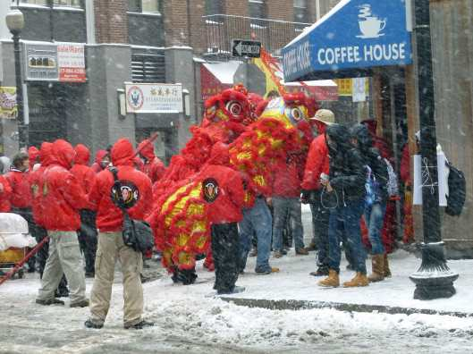 Chinese New Year Parade During the Storm in Boston Last Weekend