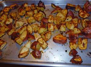 Sriracha Oven Roasted Potatoes just out of the oven!