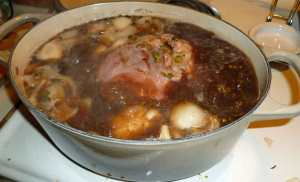 Corned Beef in Braising Liquid at Rolling Boil