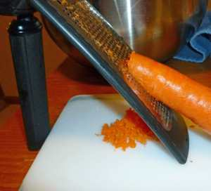 Carrots grated with a Microplane fine grater