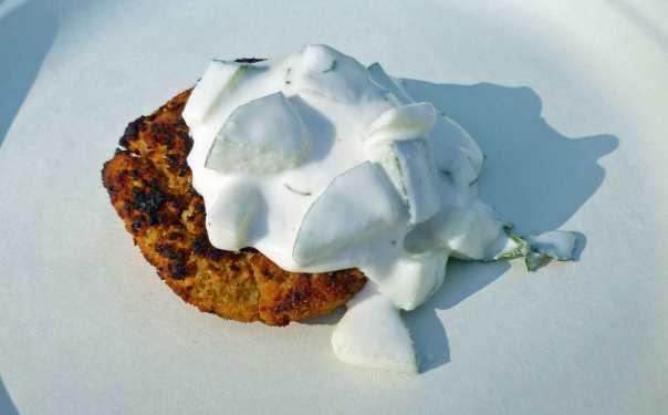 Falafel Burger (shown with Tzatziki Sauce)