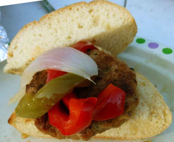 Hot Italian Sausage Burger with Peppers and Onions