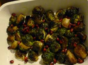 Roasted Brussel Sprouts with Pomegranate Seeds