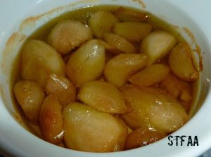 Garlic roasted in olive oil