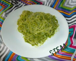 Garlic Scape Pesto Sauce mixed with rice noodles