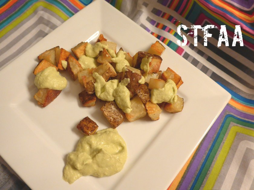 Roasted potatoes with spring garlic sauce
