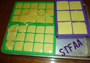 Homemade Margarine, New and Improved in silicone ice cube trays before freezing