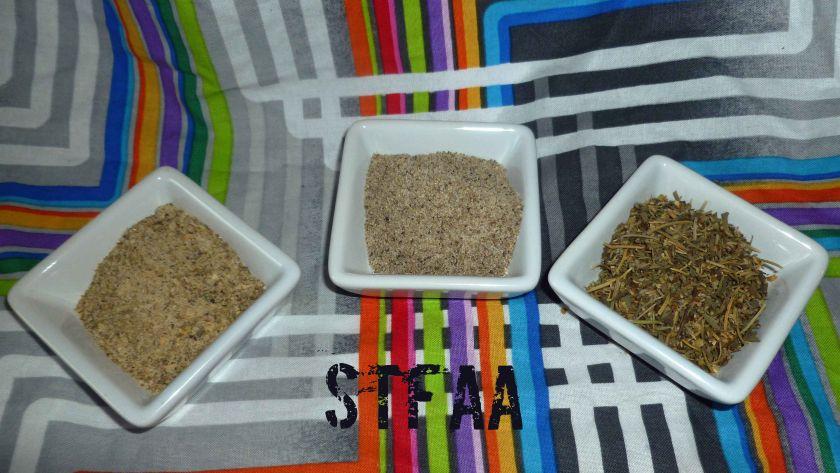From left to right: Greek Seasoning, Prime Rib Seasoning & Italian Seasoning