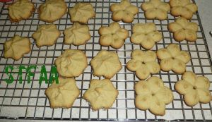 Spritz or Cookie Press Cookies cooling on rack