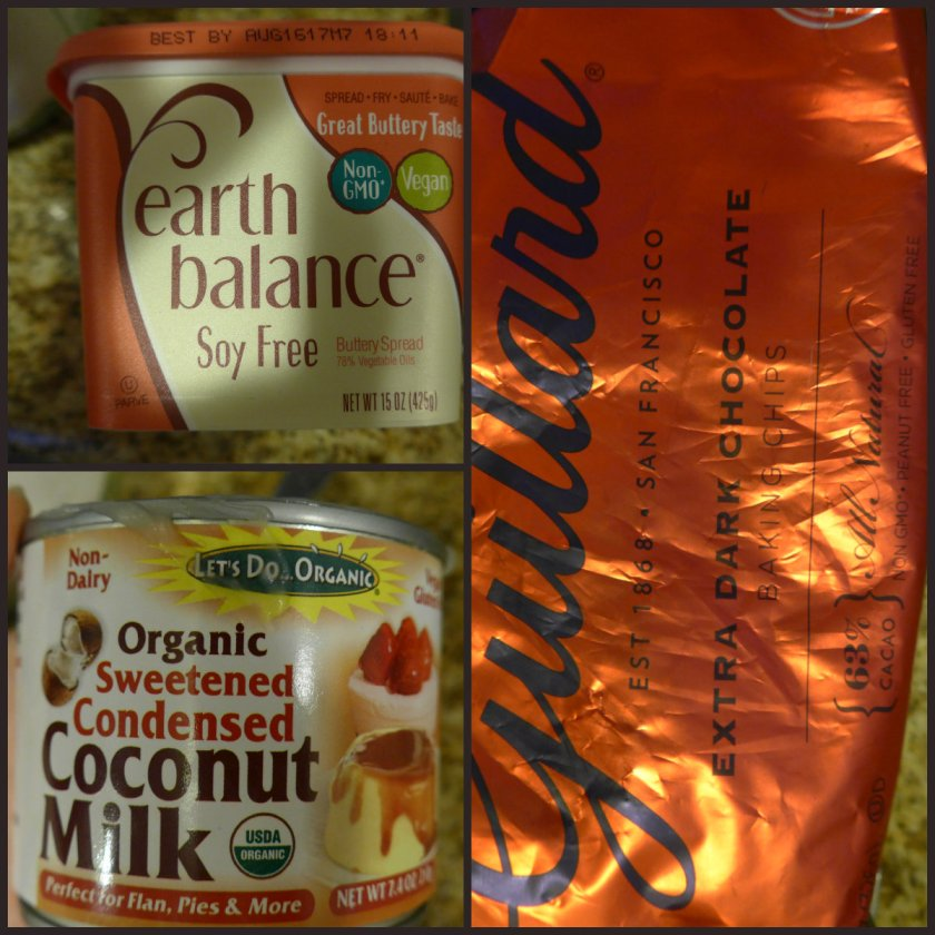 Earth Balance vegan margarine, sweetened condensed coconut milk, dark chocolate chips