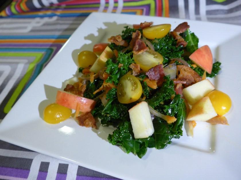 warm kale & bacon salad