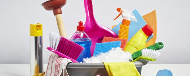 cleaning products together