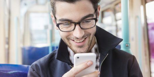 Man Happy Using Mobile