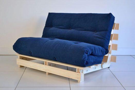 Navy Wooden Futon