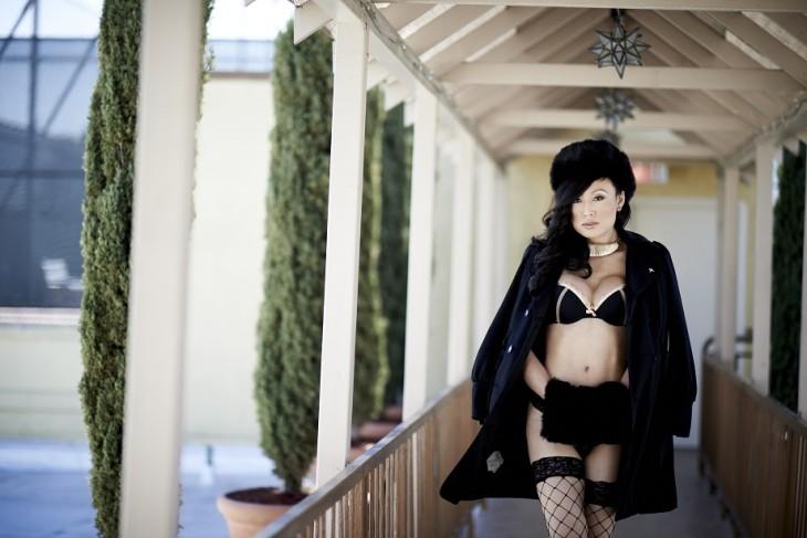 Woman Black Coat Lingerie