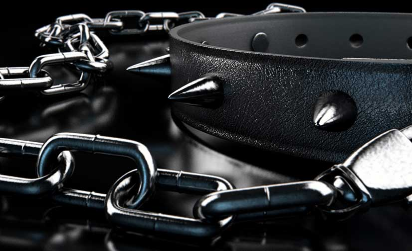 Black BDSM Spiked Collar And Lead Image