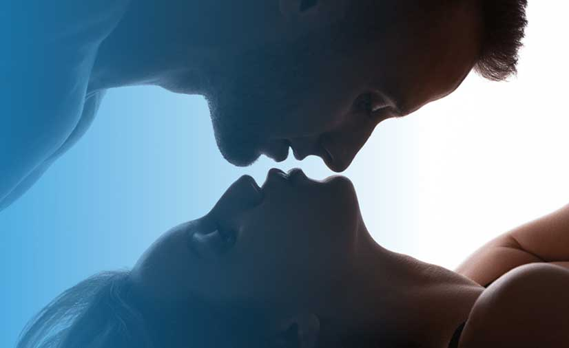 Couple Kissing Intimately With Tantra