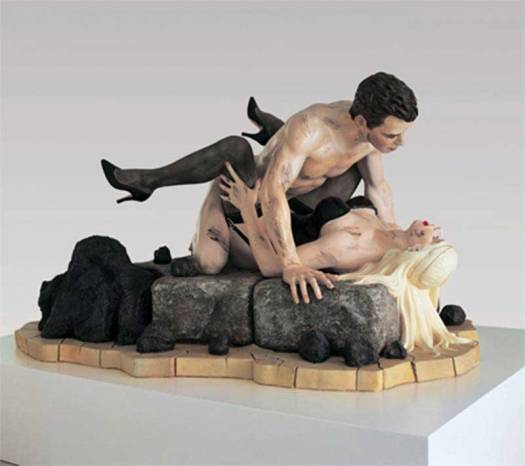 Scultpure of man having sex with a woman