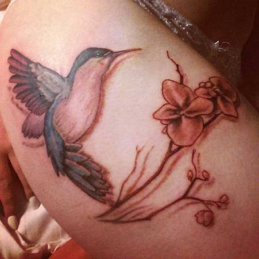 Hummingbird Tattoo With Orchid