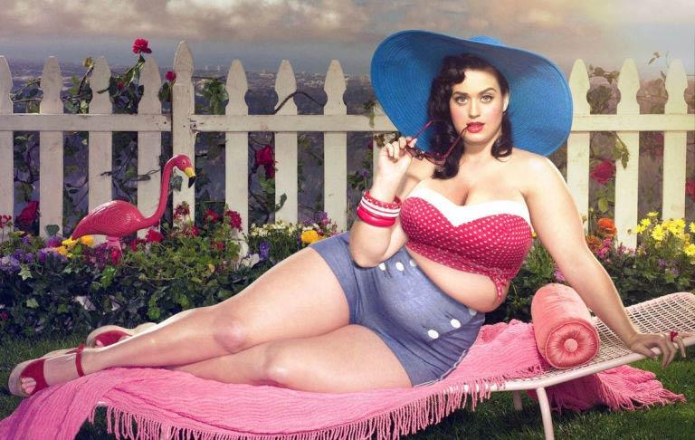Katy Perry photoshopped to be plus size