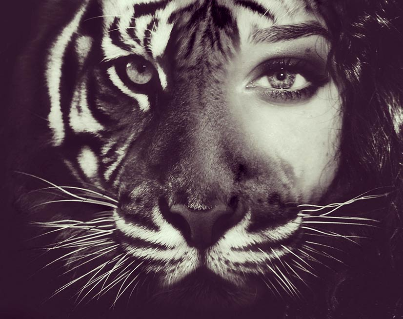 Lady who is half tiger