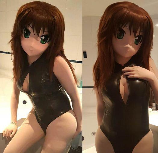 Anime cosplay with latex dress