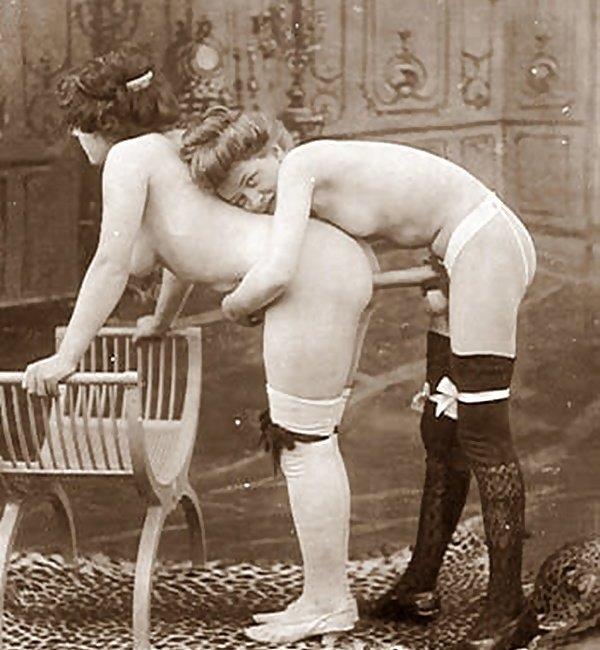 Vintage strap-on sex