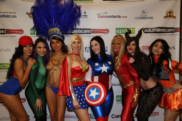 Adult webcam conference superheroine promo girls.
