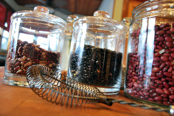 dry beans in glass jar