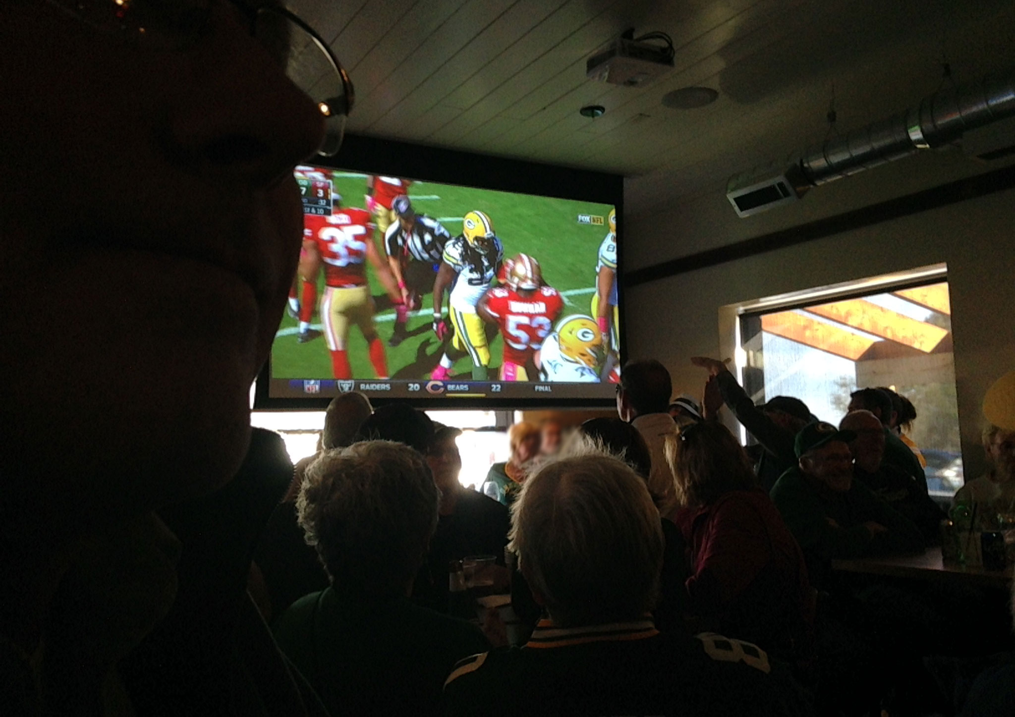 watching Packers play in The Creamery tavern in Bayfield, WI