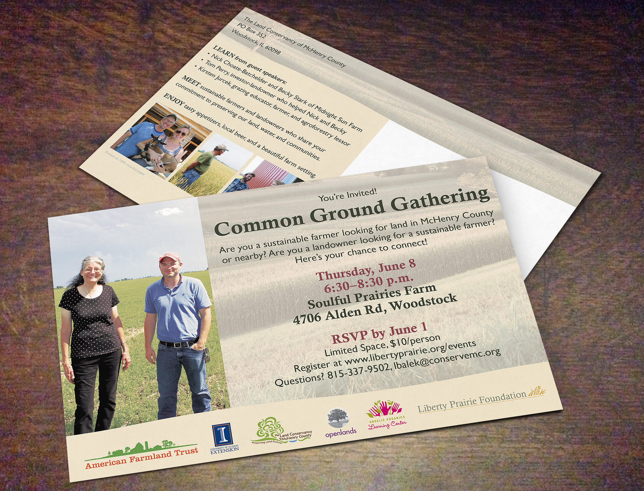 Event promotion card by Adunate for Liberty Prairie Foundation, Grayslake, IL