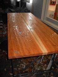 Grunewald im Herbstregen Lärchenholz und Stahlgestell