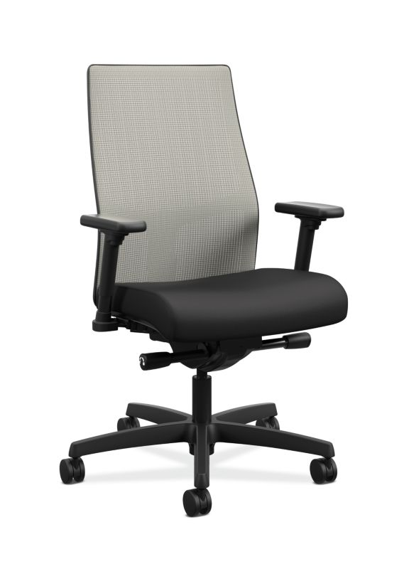 HON Ignition 2.0 Mid-Back Task Chair | Fog ilira-Stretch Mesh Back| Easy Assembly | Black Fabric
