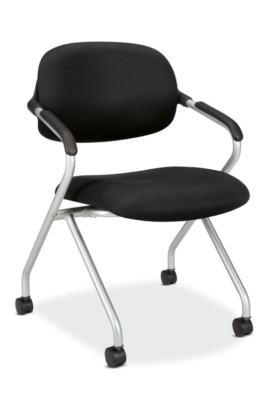 HON Floating Back Nesting Chair | Casters | Silver Frame | Black Fabric | 1 per Carton