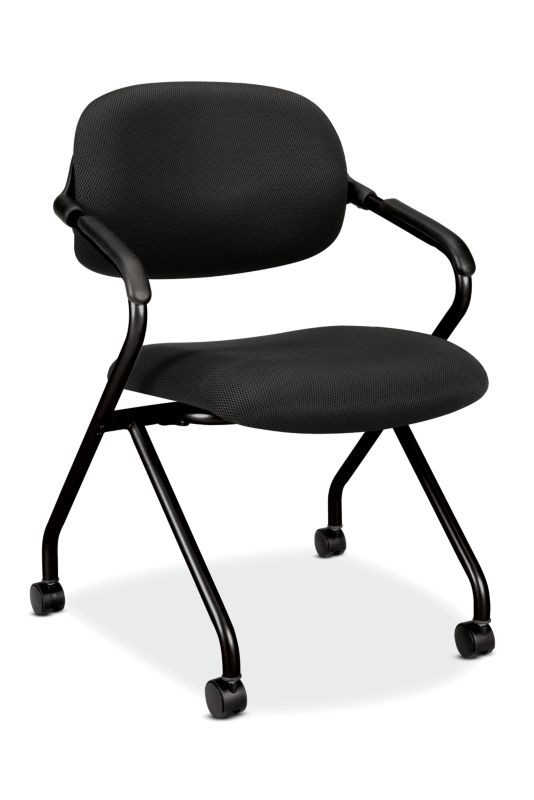 HON Floating Back Nesting Chair | Casters | Black Frame | Black Fabric | 1 per Carton