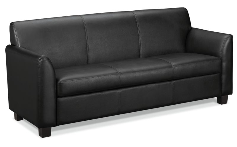 HON Circulate Tailored Three-Cushion Sofa | Black SofThread Leather