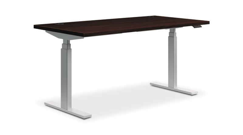"HON Coordinate Height-Adjustable Table | Mahogany Laminate | 60""W"