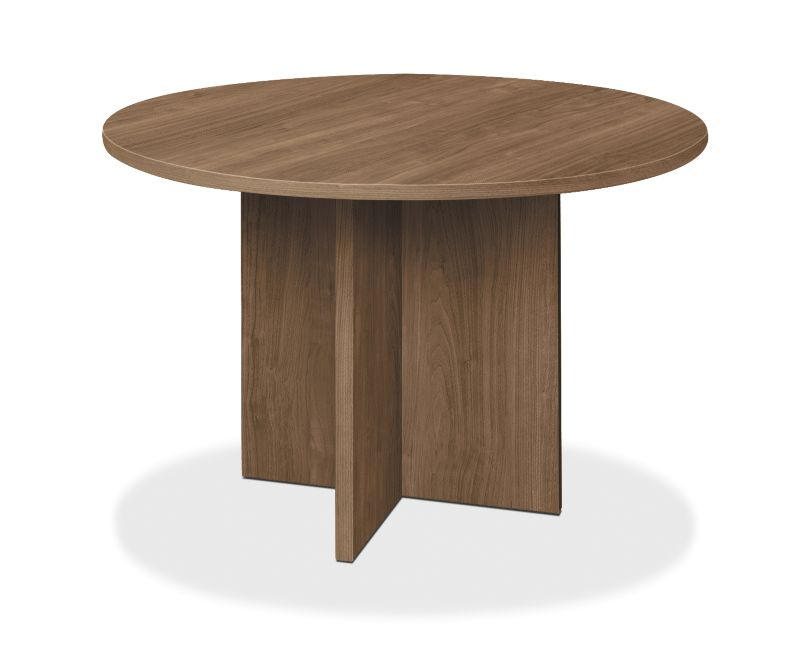 "HON Foundation Conference Table | Round | Flat Edge | X-Base | 48"" Diameter 