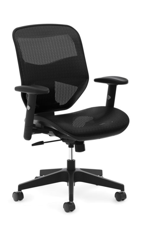 HON Prominent Mesh High-Back Task Chair | Center-Tilt | Adjustable Arms | Black Mesh