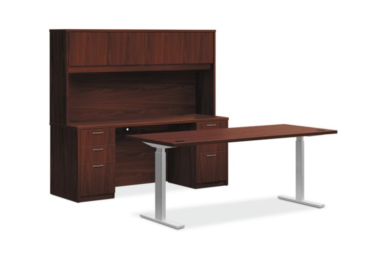 HON Foundation Office Suite with Stack-On Storage | Height-Adjustable | Mahogany Laminate
