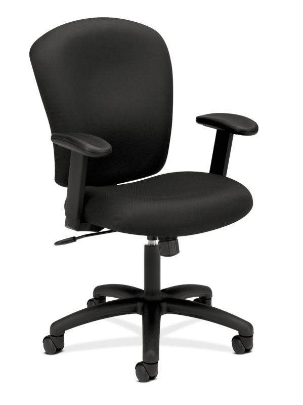HON Mid-Back Task Chair | Center-Tilt | Adjustable Arms | Black Fabric