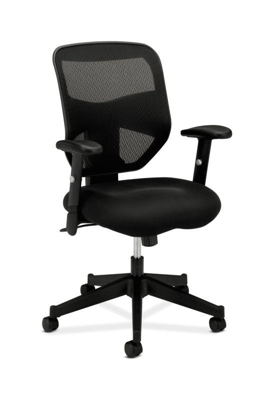 HON Prominent Mesh High-Back Task Chair | Center-Tilt | Adjustable Arms | Black Sandwich Mesh Seat