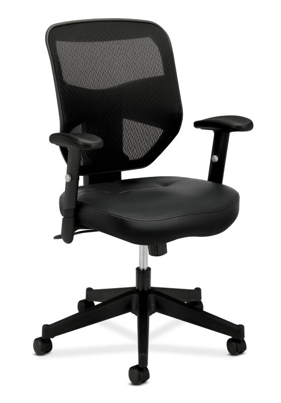 HON Prominent Mesh High-Back Task Chair | Center-Tilt | Adjustable Arms | Black SofThread Leather Seat
