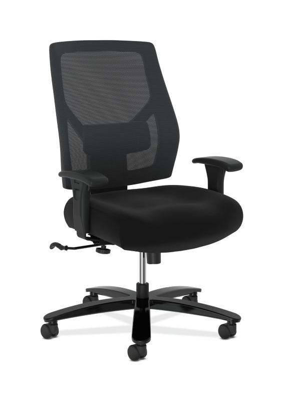 HON Crio High-Back Big And Tall Chair | Mesh Back | Adjustable Arms | Adjustable Lumbar | Black Fabric