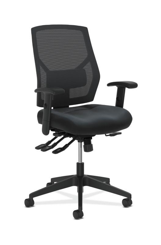 HON Crio High-Back Task Chair   Mesh Back   Adjustable Arms   Asynchronous Control   Adjustable Lumbar   Black Leather