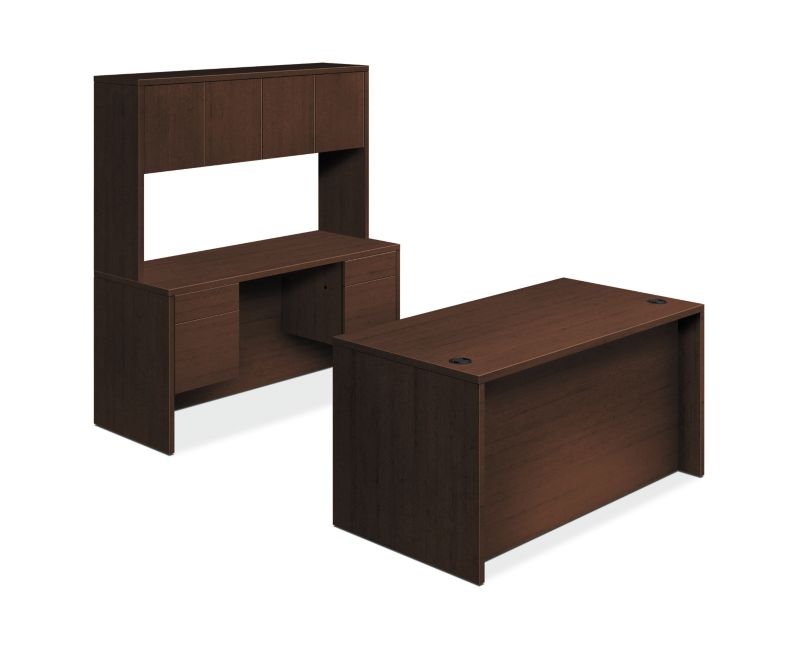 "HON 10500 Series Double Pedestal Desk / Credenza | Full Pedestals | 4 Box / 4 File Drawers | 60""W | Mocha Finish"