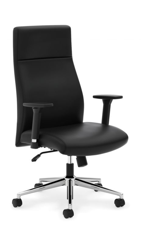 HON Define High-Back Executive Chair | Synchro-Tilt | Adjustable Arms | Black SofThread Leather